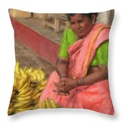 Banana Seller Throw Pillow