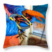 Banding An American Lobster In Chatham On Cape Cod Throw Pillow