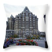 Banff Springs Hotel In The Canadian Rocky Mountains Throw Pillow