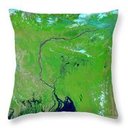 Bangladesh Throw Pillow by Nasa
