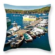 Bar Harbor Boat Dock Throw Pillow