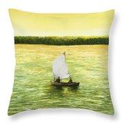 Bar Harbor Sailboat Throw Pillow