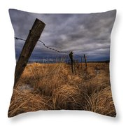 Barbed Wire Fence Posts With Dark Sky Throw Pillow