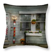 Barber - Belvidere Nj - A Family Salon Throw Pillow by Mike Savad