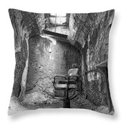 Barber - Chair - Eastern State Penitentiary - Black And White Throw Pillow