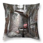 Barber - Chair - Eastern State Penitentiary Throw Pillow