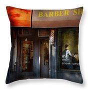 Barber - Ny - Greenwich Village - West Village Barber Shop  Throw Pillow