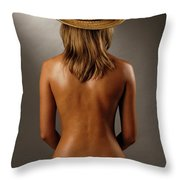 Bare Back Of A Suntanned Woman In A Straw Hat Throw Pillow