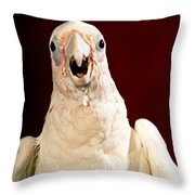 Bare Eyed Cockatoo Speaks Throw Pillow