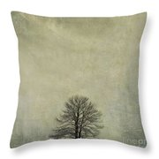 Bare Tree. Vintage-look. Auvergne. France Throw Pillow
