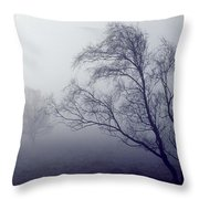 Bare Trees In Thick Fog, Peak District Throw Pillow