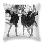 Barefoot Dance In The Snow Throw Pillow