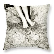 Barefoot In The Sand Throw Pillow