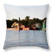 Barge In Naples Bay Throw Pillow