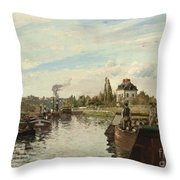 Barge On The Seine At Bougival Throw Pillow by Camille Pissarro