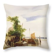 Barges On A River Throw Pillow by Richard Parkes Bonington