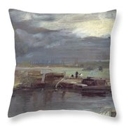 Barges On The Stour With Dedham Church In The Distance Throw Pillow
