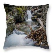 Baring Creek Waterfall And Rapids Throw Pillow