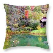 Barn And Pond In The Fall Throw Pillow