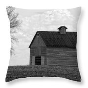 Barn And Tree In Black And White Throw Pillow
