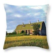 Barn In A Golden Field Throw Pillow