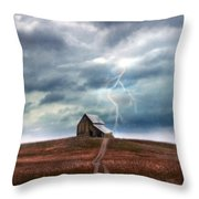 Barn In Lightning Storm Throw Pillow