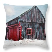 Barn In Snow Southbury Ct Throw Pillow