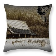 Barn In The Field Throw Pillow