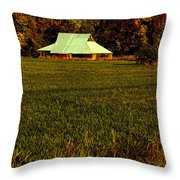 Barn In The Style Of The 60s Throw Pillow