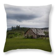 Barn Near Shady Cove Throw Pillow