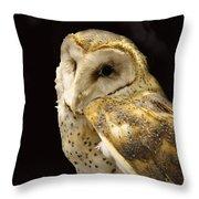 Barn Owl In A Dark Tree Throw Pillow