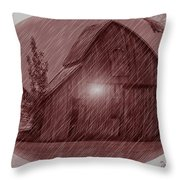 Barn Snow Globe Throw Pillow