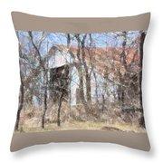 Barn Through Trees Throw Pillow