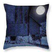 Barn Under A Full Moon Throw Pillow