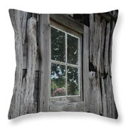 Barn Window Reflection Throw Pillow