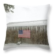 Barn With American Flag During Blizzard Of '05 On Cape Cod Throw Pillow