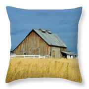 Barn With Stormy Skies Throw Pillow