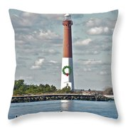 Barnegat Lighthouse - New Jersey - Christmas Card Throw Pillow