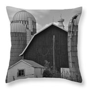 Barns And Silos Black And White Throw Pillow