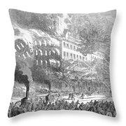 Barnums Museum Fire, 1865 Throw Pillow