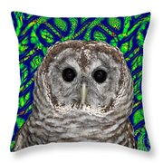 Barred Owl In A Fractal Tree Throw Pillow