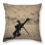 Barrett M82a1 Rifle Sits Ready Throw Pillow