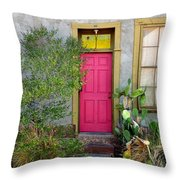 Barrio Door Pink And Gray Throw Pillow