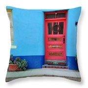 Barrio Door Pink Throw Pillow