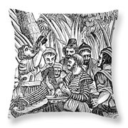 Bartholmew Roberts And Crew Drinking Throw Pillow by Photo Researchers