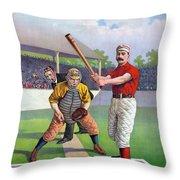 Baseball Game, C1895 Throw Pillow