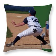 Baseball Pick Off Attempt 02 Throw Pillow by Thomas Woolworth
