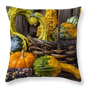 Basket Full Of Gourds Throw Pillow