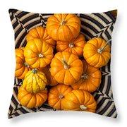 Basket Full Of Small Pumpkins Throw Pillow