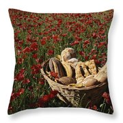 Basket Of Bread In A Poppy Field Throw Pillow